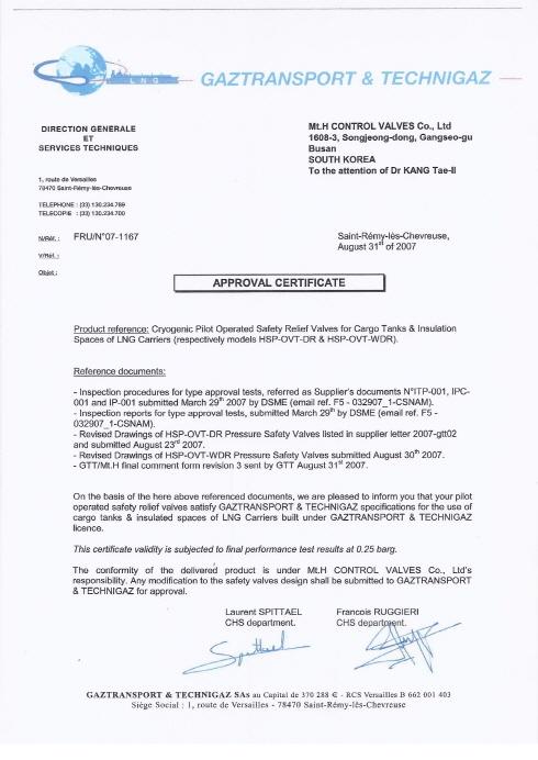 Certificates & Patents - Mt.H - No. 1 Valve Manufacturer