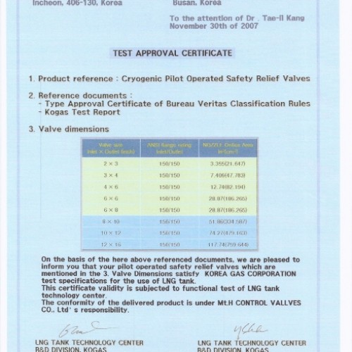 05. Test Approval Certificate - Cryogenic Pilot Operated Safety Relief Valves