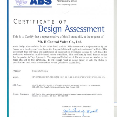 15. Certificate of Design Assessment -ABS-PSV