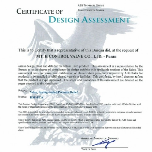16. Certificate of Design Assessment -ABS-TSV