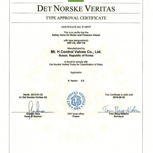 22. Type Approval Certificate -DNV-HSF