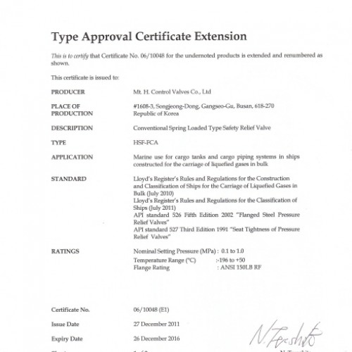 28. Type Approval Certificate -LR-TSV