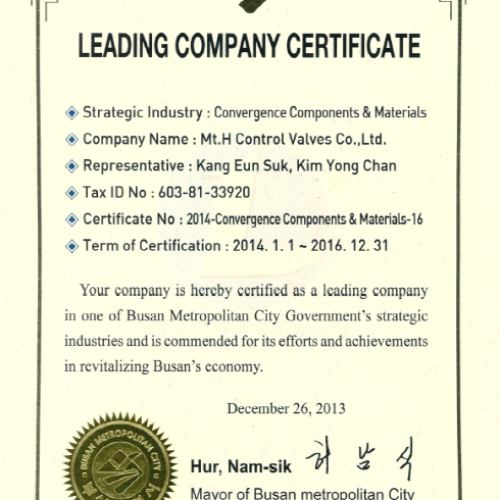 Leading Company certificate